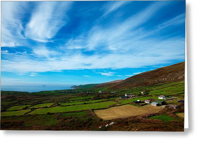 Ring Of Kerry Coastline And Fields Greeting Card