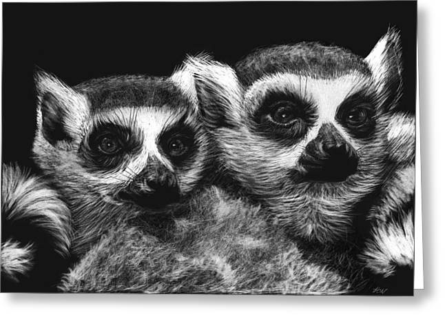 Ringtail Lemurs Greeting Card by Heather Ward