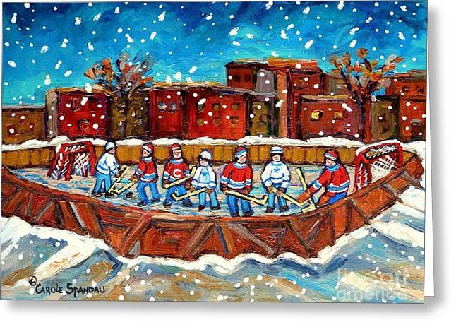 Rink Hockey Game Little Montreal Superstars Montreal Memories Snowy City Scene Carole Spandau Greeting Card by Carole Spandau