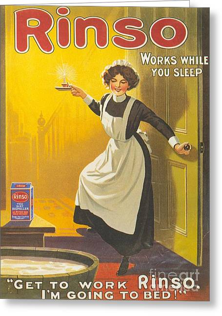 Rinso 1910s Uk Washing Powder Maids Greeting Card by The Advertising Archives