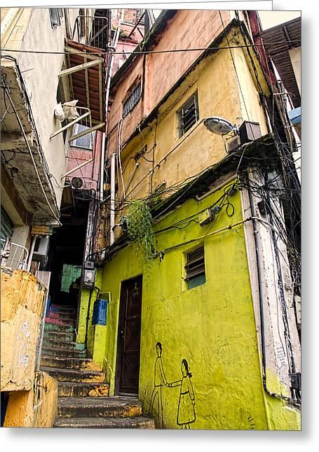 Rio De Janeiro Brazil -  Favela Housing Greeting Card by Jon Berghoff