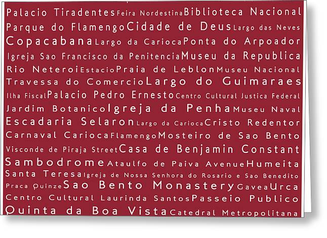 Rio De Janeiro In Words Red Greeting Card