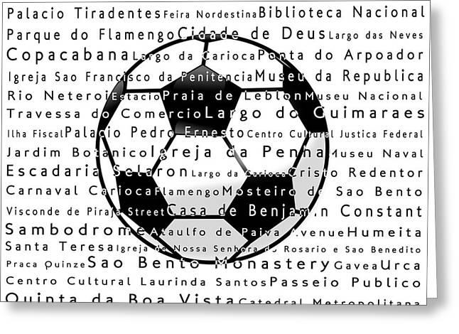 Rio De Janeiro In Words White Soccer Greeting Card