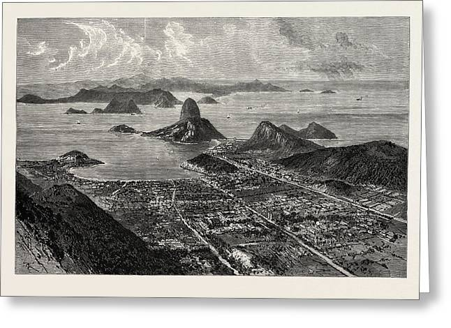 Rio De Janeiro, View From The Summit Of Corcovado, Showing Greeting Card by English School