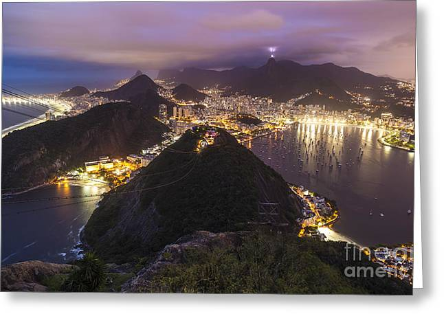 Rio Evening Cityscape Panorama Greeting Card