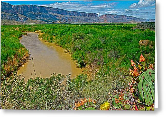 Rio Grande East Of Santa Elena Canyon In  Big Bend National Park-texas Greeting Card