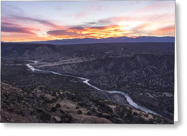 Rio Grande River Sunrise - White Rock New Mexico Greeting Card by Brian Harig