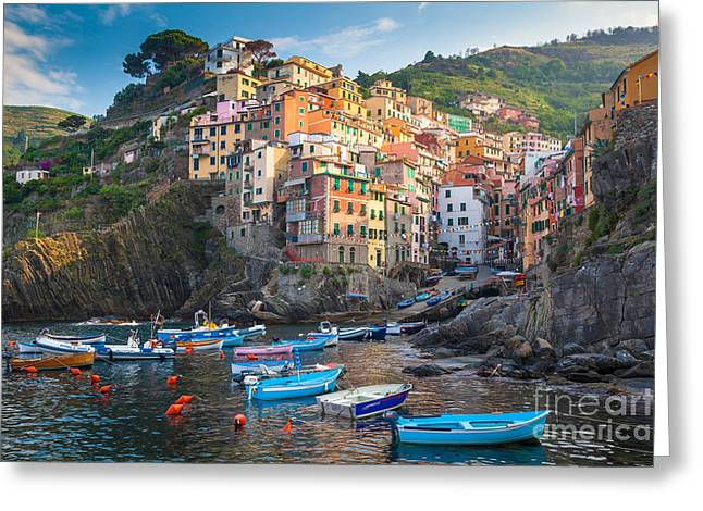 Riomaggiore Boats Greeting Card by Inge Johnsson