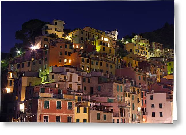 Riomaggiore Buildings At Night Greeting Card by Ioan Panaite