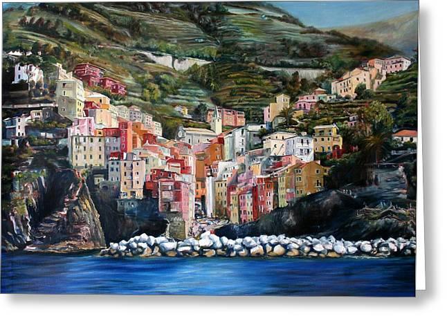 Riomaggiore Glory- Cinque Terre Greeting Card by Jennifer Lycke