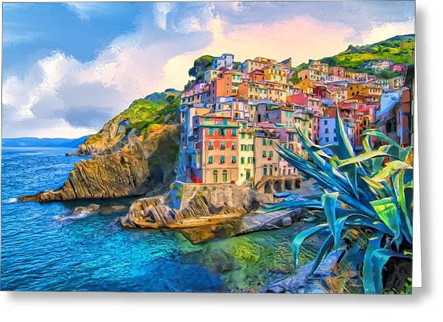 Riomaggiore Morning - Cinque Terre Greeting Card by Dominic Piperata