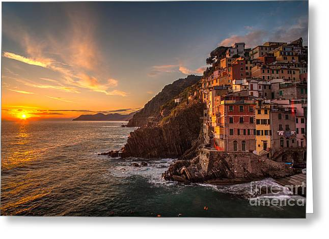 Riomaggiore Rolling Waves Greeting Card
