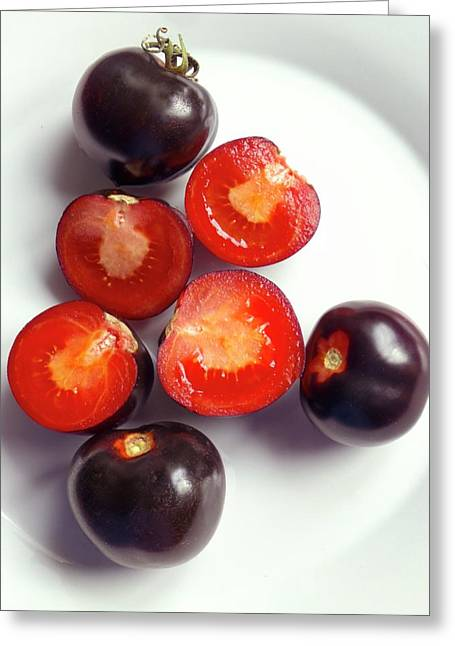 Ripe Black Tomatoes (indigo Rose) Greeting Card by Ian Gowland