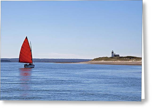 Ripple Catboat With Red Sail And Lighthouse Greeting Card
