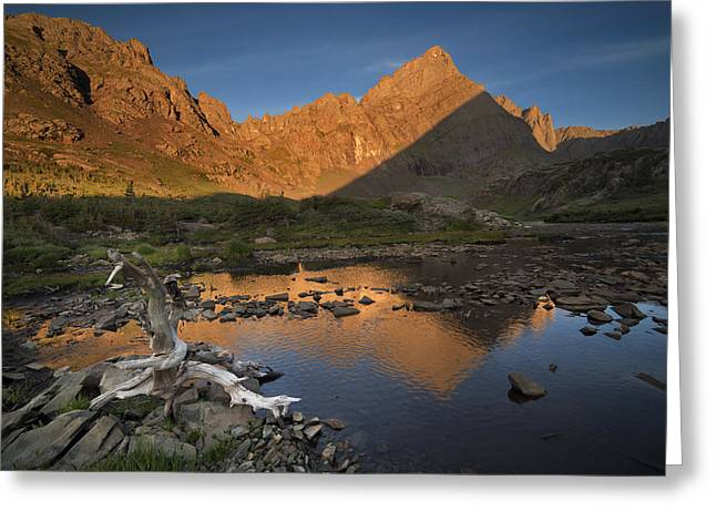 Rippled Reflections Of Crestone Needle Greeting Card by Mike Berenson