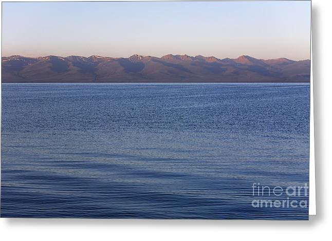 Ripples On The Surface Of Lake Song Kul In Kyrgyzstan Greeting Card