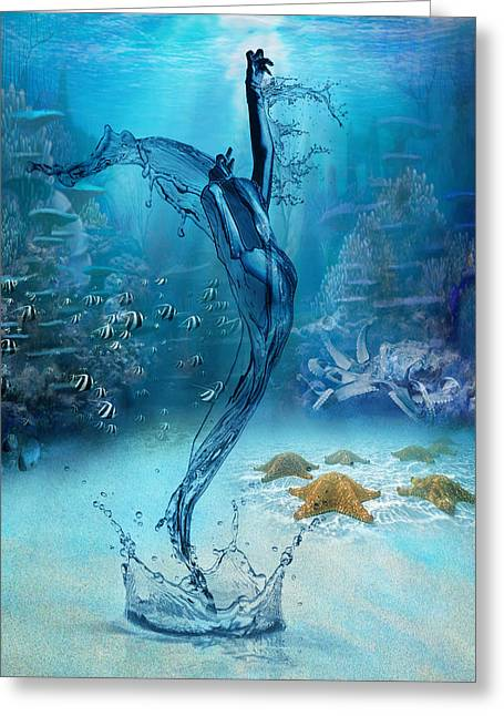 Rise Of The Sea Goddess Greeting Card by Regina  Williams