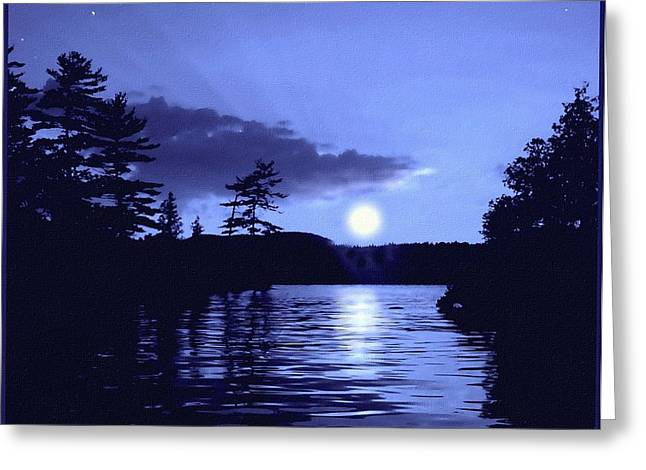 Rising Moon On The Lake Greeting Card by Hank Clark