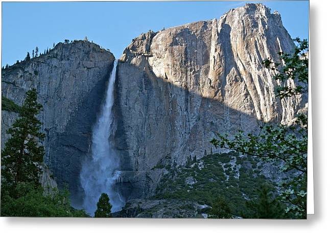 Rising Sun At Upper Yosemite Falls Greeting Card