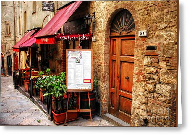 Ristorante In Tuscany Greeting Card by Mel Steinhauer