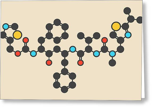 Ritonavir Hiv Drug Molecule Greeting Card by Molekuul