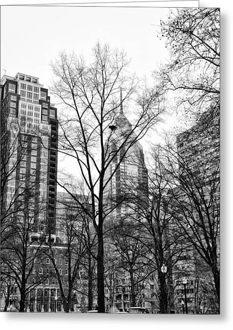 Rittenhouse Square In Black And White Greeting Card by Bill Cannon