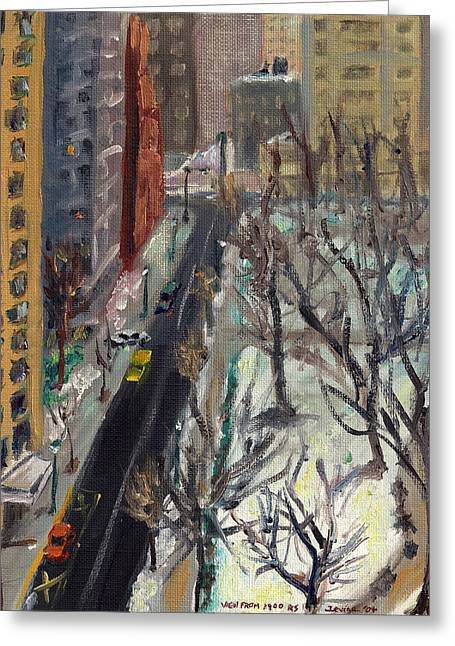 Rittenhouse Square In The Snow Greeting Card by Joseph Levine