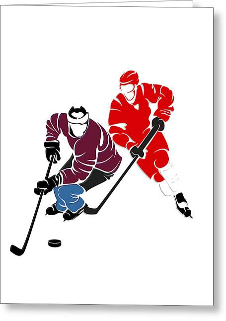 Rivalries Avalanche And Red Wings Greeting Card by Joe Hamilton