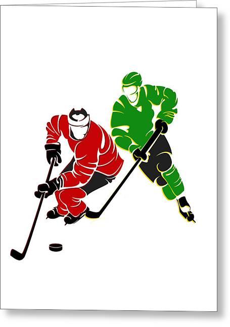 Rivalries Blackhawks And North Stars Greeting Card by Joe Hamilton