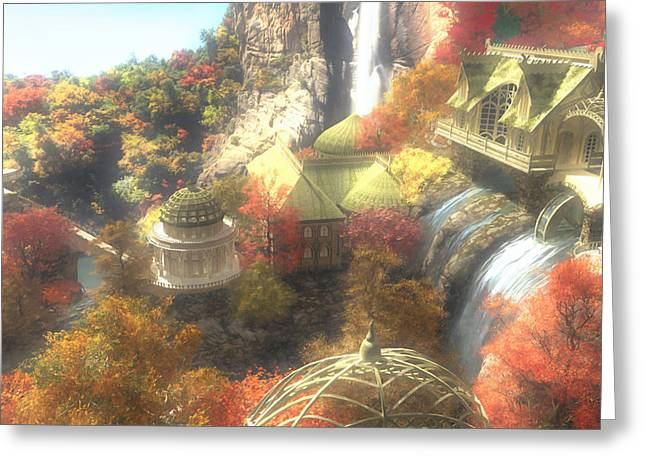 Rivendell Greeting Card by Cynthia Decker