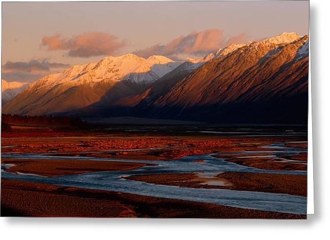 River Along Mountains, Rakaia River Greeting Card by Panoramic Images