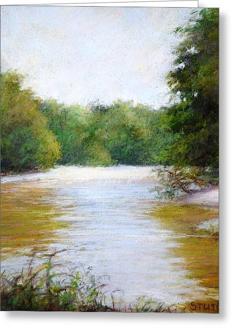 River And Trees Greeting Card by Nancy Stutes