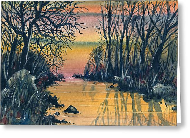 Greeting Card featuring the painting River At Sunset by Terry Banderas