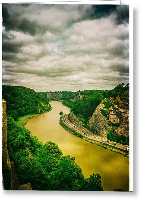 River Avon Curvature As Seen From Clifton Suspension Bridge Greeting Card