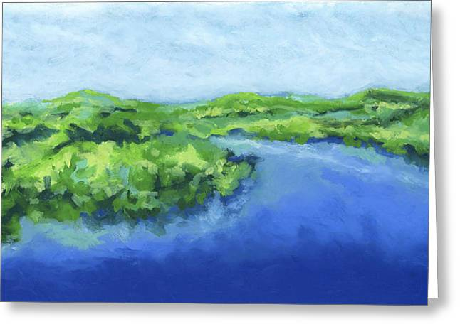 Greeting Card featuring the painting River Bend by Stephen Anderson
