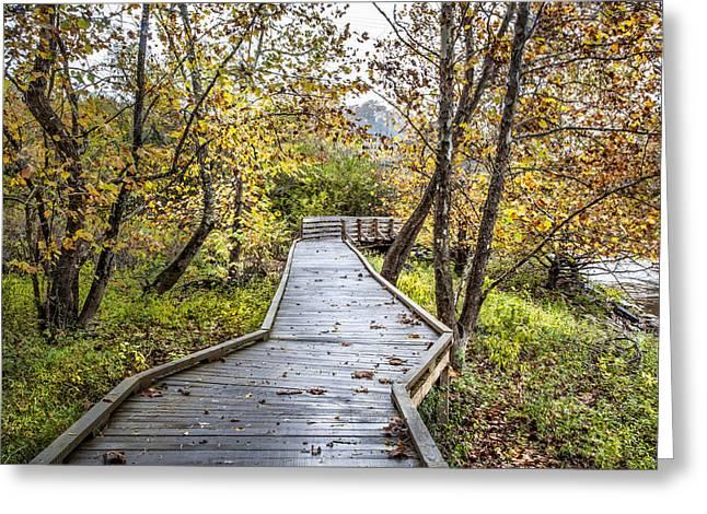 River Boardwalk Greeting Card by Debra and Dave Vanderlaan