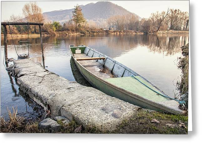 River Boat Greeting Card by Alfio Finocchiaro