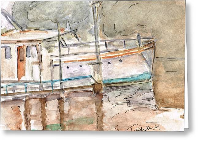 Greeting Card featuring the painting River Boat  by Teresa White