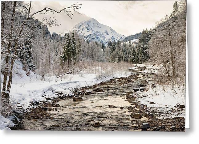 River Breitach In Kleinwalsertal Austria In Winter With Snow Greeting Card by Matthias Hauser
