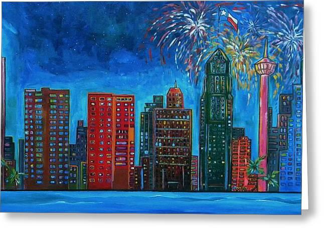 River City Skyline Greeting Card by Patti Schermerhorn