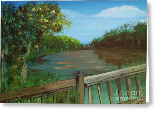 River Deck Greeting Card by Brigitte Emme