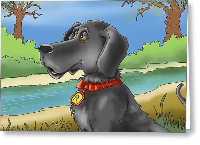 River Dog Greeting Card by Hank Nunes