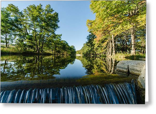 River Falls In The Fall On The Guadalupe River Greeting Card