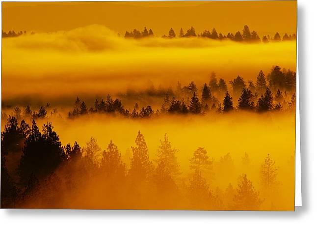 River Fog Rising Greeting Card