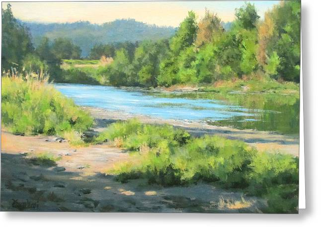 River Forks Morning Greeting Card by Karen Ilari