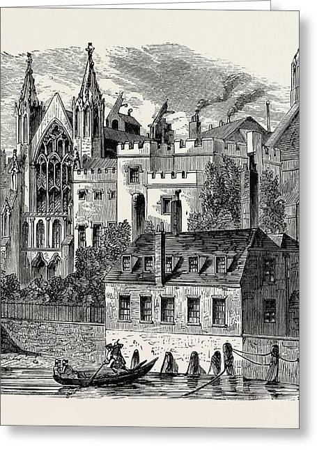 River Front Of The Old House Of Peers Greeting Card by English School