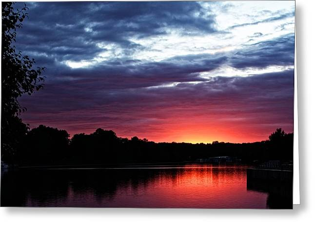 Greeting Card featuring the photograph River Glow by Dave Files