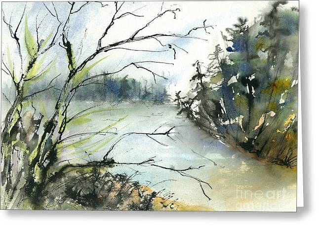 River In Autumn Greeting Card by Gwen Nichols