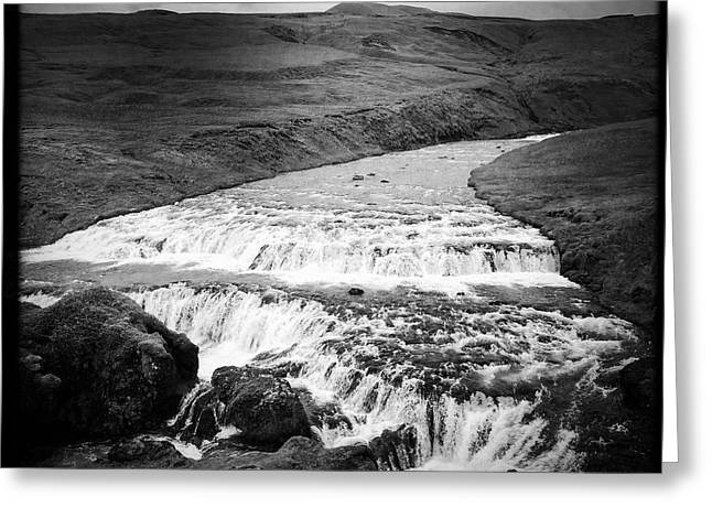River In Iceland Black And White Greeting Card