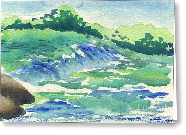 River In The Morning Greeting Card by Beverly Claire Kaiya